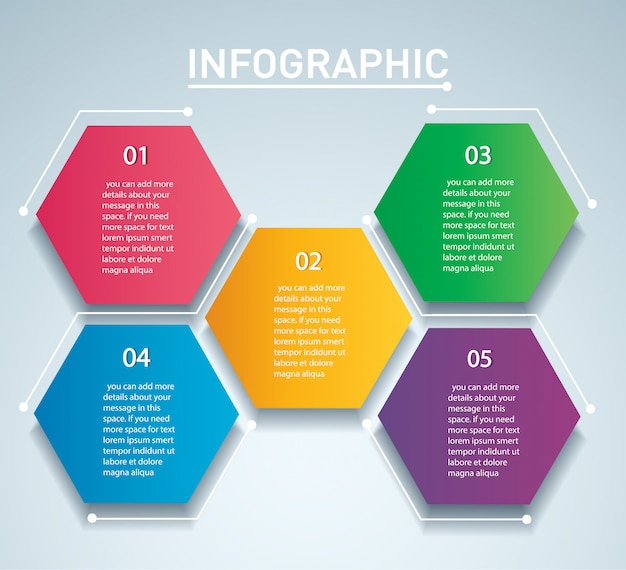 Plantilla de vector de infografía hexágono colorido