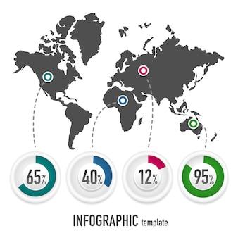 Plantilla de vector para infografías con un mapa de la tierra y gráficos con porcentajes