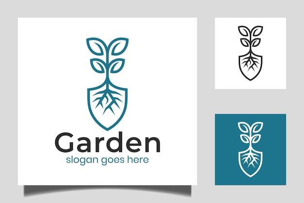 Plantilla de vector de inspiración de diseño de logotipo lineal de jardinero, cuidado del césped, agricultor, servicio de césped ecológico con vector icono de pala
