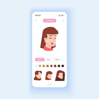 Plantilla de vector de interfaz de smartphone de creador de emoji. diseño de página de aplicaciones móviles. funciones modernas para el uso de redes sociales. hermosa pantalla de inicio. interfaz de usuario plana para la aplicación. pantalla del teléfono
