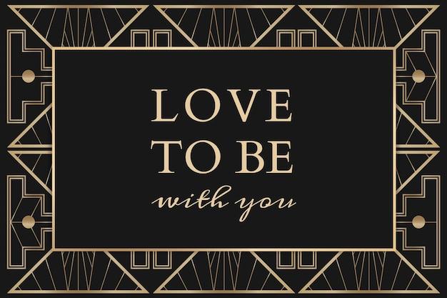 Plantilla de vector de invitación de boda para banner de redes sociales con patrón art deco