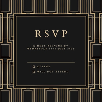 Plantilla de vector de invitación de boda para publicación en redes sociales con estilo art deco geométrico
