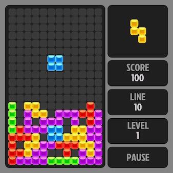 Plantilla de vector de juego de ladrillo. aplicación móvil, juego en computadora, ilustración de tecnología retro digital