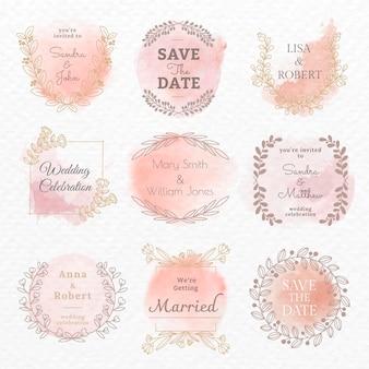 Plantilla de vector de logotipo de boda en conjunto de estilo acuarela floral