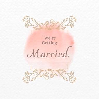 Plantilla de vector de logotipo de boda en estilo acuarela botánica