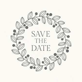 Plantilla de vector de logotipo de boda en estilo botánico
