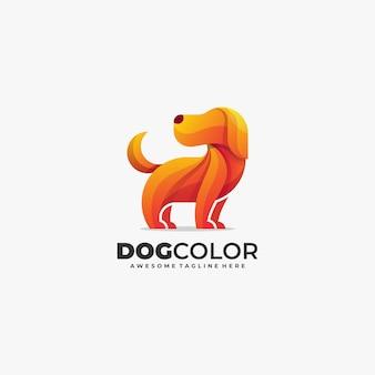 Plantilla de vector de logotipo de color abstracto lindo perro
