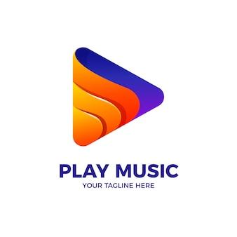 Plantilla de vector de logotipo colorido botón de reproducción de música