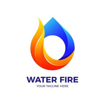 Plantilla de vector de logotipo degradado 3d de llama de fuego de gota de agua