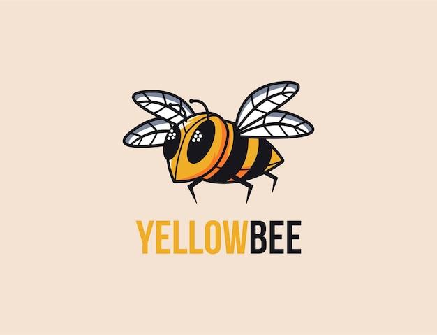 Plantilla de vector de logotipo de dibujos animados de mascota de abeja amarilla