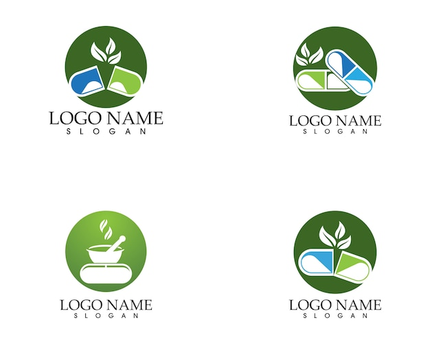 Plantilla de vector de logotipo de farmacia herbal