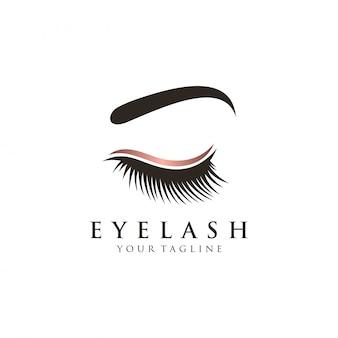 Plantilla de vector de logotipo de glamour de pestañas de lujo