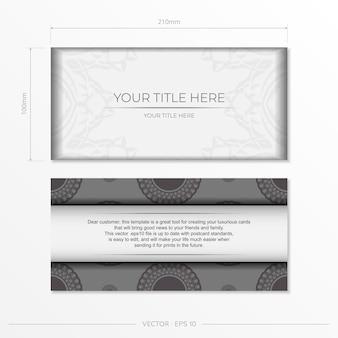 Plantilla de vector de lujo para diseño de impresión postal color blanco con patrones griegos oscuros. preparando una invitación con un lugar para tu texto y adornos vintage.