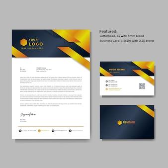 Plantilla de vector de membrete y tarjeta de visita creativa profesional