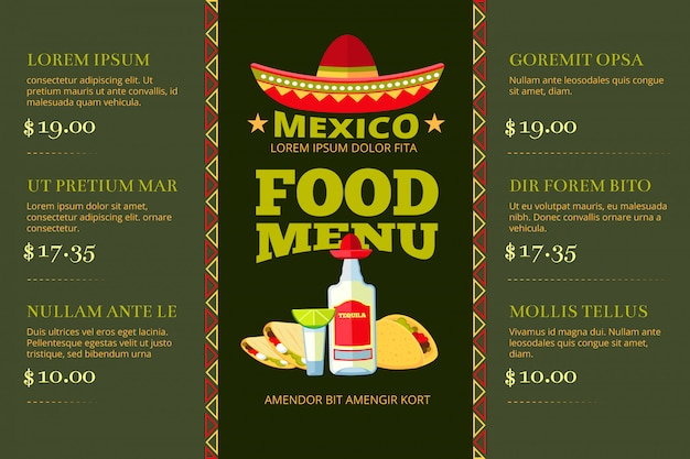 Plantilla de vector de menú de restaurante de comida mexicana cocina