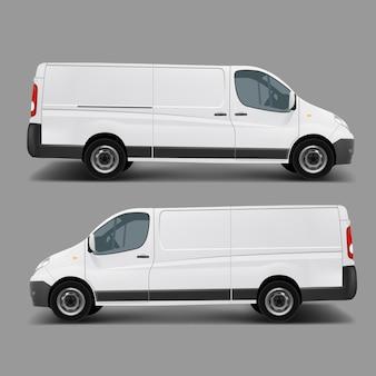 Plantilla de vector de minivan de carga comercial blanco