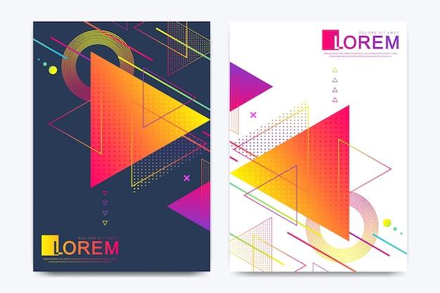 Plantilla de vector moderno para folleto, prospecto, volante, anuncio, portada, banner, catálogo, revista o informe anual. cartel de diseño de textura de fondo de triángulo abstracto, rayas brillantes y formas vectoriales.