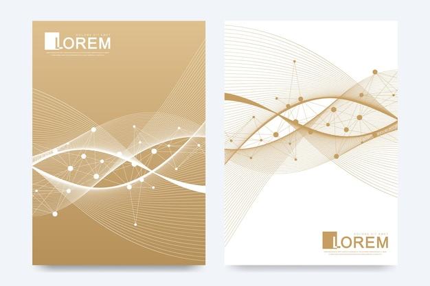 Plantilla de vector moderno para folleto, prospecto, volante, anuncio, portada, catálogo, revista o informe anual en tamaño a4. olas doradas. puntos cibernéticos dorados científicos. las líneas fluyen del plexo. superficie de la tarjeta.
