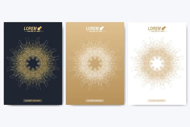 Plantilla de vector moderno para folleto, prospecto, volante, portada, catálogo, revista o informe anual en tamaño a4. diseño de libro de diseño de negocios, ciencia y tecnología. presentación con mandala dorado.