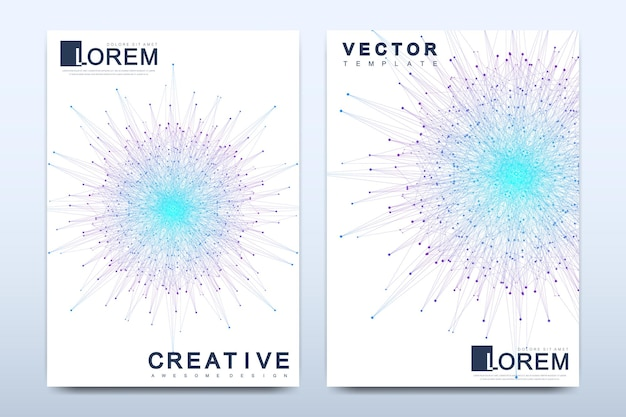 Plantilla de vector moderno para folleto, prospecto, volante, portada, catálogo, revista o informe anual en tamaño a4. diseño de libro de diseño de negocios, ciencia y tecnología. presentación con mandala.