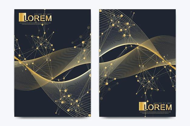 Plantilla de vector moderno para folleto, prospecto, volante, portada, catálogo, revista o informe anual en tamaño a4. diseño de libro de diseño de negocios, ciencia y tecnología. presentación con ondas doradas.
