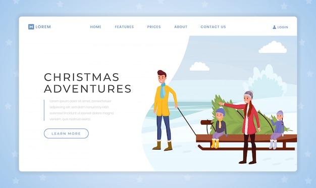 Plantilla de vector de página de aterrizaje de aventura de navidad
