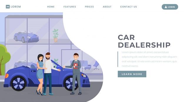 Plantilla de vector de página de aterrizaje de concesionario de automóviles