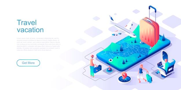 Plantilla de vector de página de aterrizaje isométrica de vacaciones de viaje.