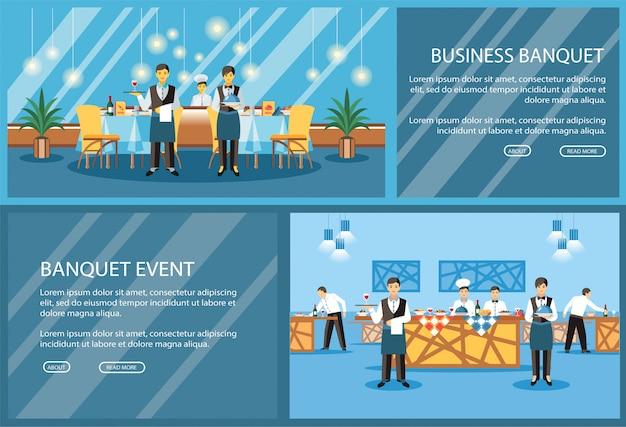 Plantilla de vector de página de aterrizaje plano de restaurante