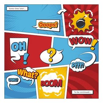 Plantilla de vector de página de cómic con elementos de dibujos animados y palabras cómicas en burbujas. nube de dibujos animados de medios tonos de efectos