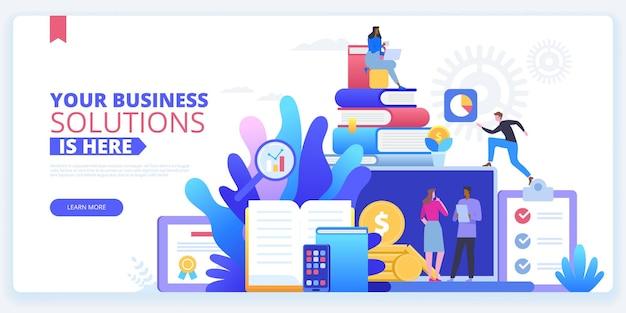 Plantilla de vector de página de destino de agencia de empleo. interfaz de la página de inicio del sitio web de la empresa de contratación