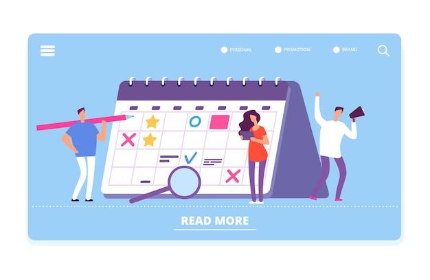 Plantilla de vector de página de destino de gestión del tiempo. horario, planificación de la ilustración. programación del tiempo de gestión, planificador de trabajo en equipo de proyectos empresariales