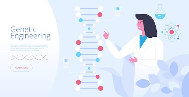Plantilla de vector de página de destino de ingeniería genética. idea de interfaz de página de inicio de sitio web de medicina futurista con ilustraciones planas. experimento de laboratorio, concepto de dibujos animados de banner web de modificación del genoma