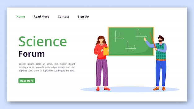 Plantilla de vector de página de inicio de foro de ciencia. solución de problemas matemáticos idea de interfaz de sitio web con ilustraciones planas.