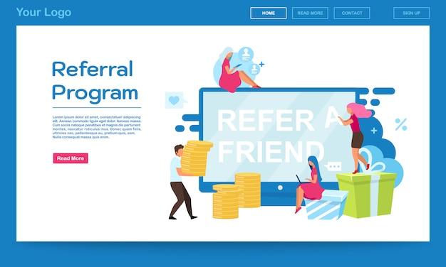 Plantilla de vector de página de inicio del programa de referencia. atracción del cliente, consulte un sitio web amigo con ilustraciones planas. diseño de páginas web