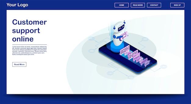 Plantilla de vector de página web chatbot con ilustración isométrica