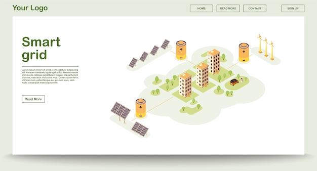 Plantilla de vector de página web de eco power con página de inicio isométrica