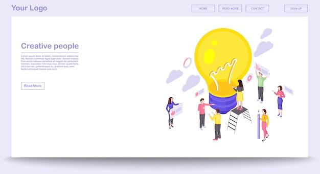 Plantilla de vector de página web de trabajo en equipo con ilustración isométrica