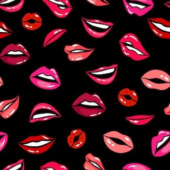 Plantilla de vector de patrones sin fisuras de labios cómicos femeninos