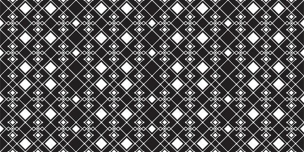 Plantilla de vector de patrones sin fisuras vintage mínimo cuadrado blanco y negro