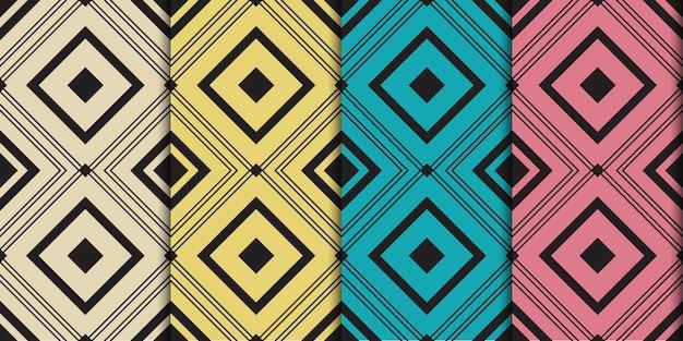 Plantilla de vector de patrones sin fisuras vintage mínimo cuadrado