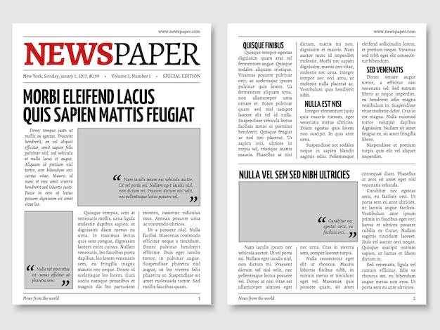 Plantilla de vector de periódico periódico vintage