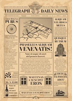Plantilla de vector de periódico viejo. papel de periódico retro con texto e imágenes. vendimia del periódico con la ilustración de la columna del artículo del texto