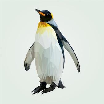 Plantilla de vector de pingüino poligonal baja geométrica