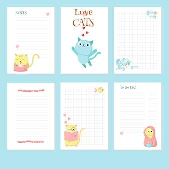 Plantilla de vector de planificador con lindos gatos mascotas
