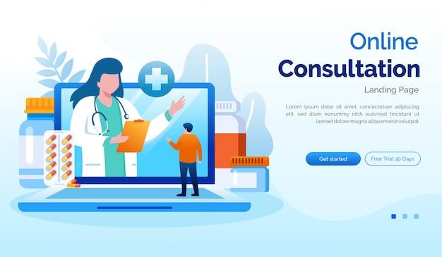 Plantilla de vector plano de ilustración de página de inicio de consulta en línea