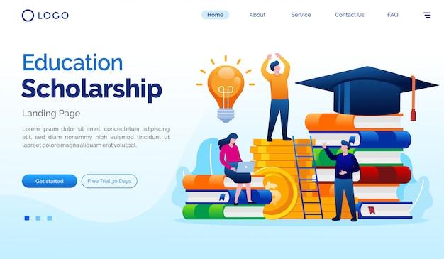 Plantilla de vector plano de ilustración de sitio web de página de aterrizaje de beca de educación