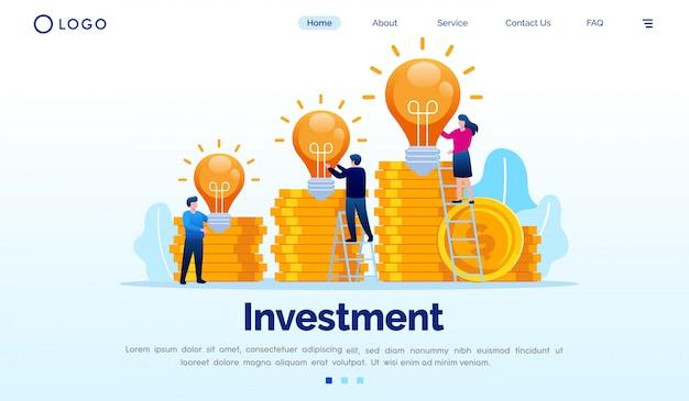 Plantilla de vector plano de ilustración de sitio web de página de destino de inversión