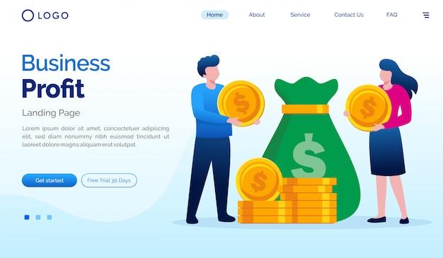Plantilla de vector plano de ilustración de sitio web de página de inicio de lucro empresarial