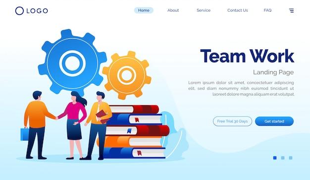 Plantilla de vector plano de ilustración de sitio web de página de trabajo en equipo